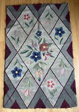 "Antique Large hooked rug colorful Flora New England folk art design 51""x 33"""