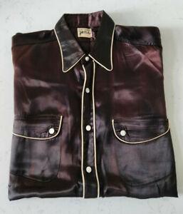 Vintage Levi's Strauss Satin Rodeo Shirt - Deep Red - UK Size 44/46