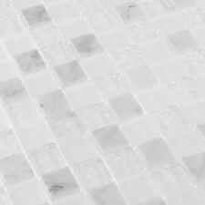 Mosaicos DE VIDRIO AZULEJOS piedra natural mármol Blanco 2,3 x 2,3cm
