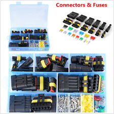New listing 1/2/3/4/5/6 Pin Way Car Waterproof Electrical Connector Terminal+Blade Fuses Kit