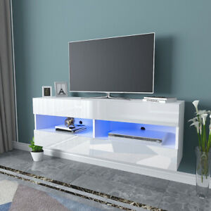 Modern TV Unit Cabinet Stand Entertainment Floating Wall Unit LED High Gloss