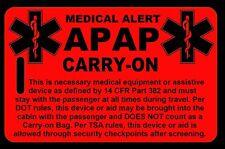Hi-Viz Red Carry-On APAP  Bag Tag - TSA - CPAP BiPAP APNEA POC