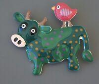 Adorable  Cow & Bird  brooch in enamel on metal