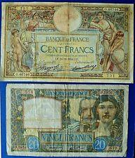 More details for france 1934 100 francs & 1941 20 francs banknotes.      ch13-137