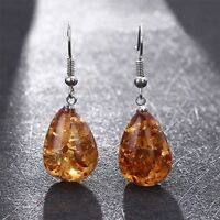 Amber Color Earrings Natural Polished Baltic Water Drop Women Jewelry Gift