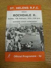 17/02/1974 programma Rugby League: ST. Helens V ROCHDALE HORNETS (leggera piega, SM