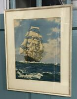 Mid Century Print Montague Dawson Clipper Ship Driving On Matted Framed