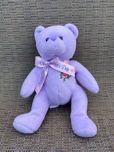 "TY Beanie Babies 2.0 Love To Mom Mothers Day Purple Bear 7"" Plush Stuffed Animal"