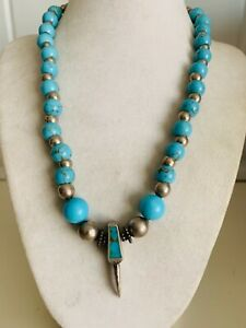 """VINTAGE NAVAJO ALL STERLING/TURQUOISE BEAD BEAR CLAW NECKLACE 18"""" 35 GRAMS"""