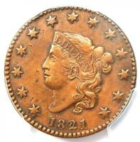 1821 Coronet Matron Large Cent 1C - Certified PCGS XF Details (EF) - Rare Date!