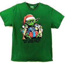 Star Wars Yoda Christmas T shirt May The Gifts Be With You Size Large