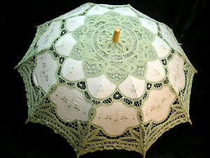 CottonBattenberg Lace Parasol Sage Green and off wht Victorian Edwardian style
