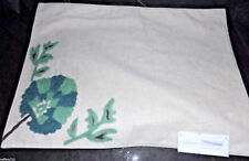 THRESHOLD PLACE MAT OFF WHITE LINEN W/GREEN & TEAL FLORAL 14 X 19 IN NWT