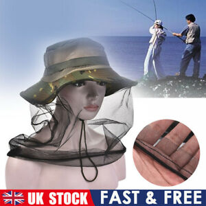 Fishing Caps Midge Mosquito Insect Hat Bug Mesh Head Net Face Protector Hat UK