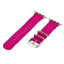 Neon Pink - 2 Piece Classic SS Nylon Watch Band for 38mm Apple Watch
