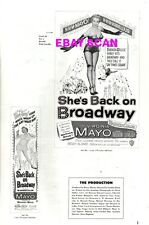 SHE'S BACK ON BROADWAY pressbook, Virginia Mayo, Gene Nelson ----PLUS POSTER----