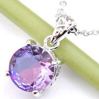 Handmade Jewelry Bi Colored Tourmaline Gemstone Silver Woman Necklace Pendants