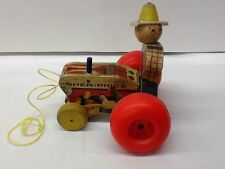 Vintage Fisher Price 1962 Farmer And Tractor Wooden Pull Toy #629