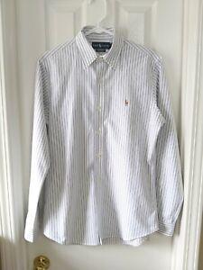 Polo Ralph Lauren Custom Fit White Blue Oxford Striped Long Sleeve Shirt Small