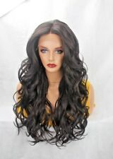 BLACK/BROWN LONG WAVY LAYERED  SILK BASE SYNTHETIC LACE FRONT WIG-