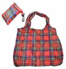 Tartan Design Eco Fold Up Shopping Bag For Life In Pouch With Clip Attachment