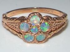 Luxury 9ct Rose Gold Ladies Fiery Opal Vintage Style Cluster Ring