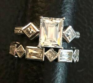 Sterling Silver Ring CZ Wedding Set Bella Luce Tycoon JTV Sz 8 9g Plati925 #1352