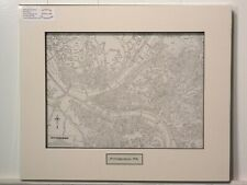 Antique Original Rand McNally Map of Pittsburgh PA, lift-matted with inset title