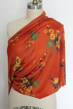 Vintage Estate from Italy Acetate Knit Fabric Orange Floral with Flowers R019