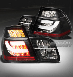 02-05 BMW E46 3-SERIES SEDAN 4DR LED REAR BRAKE TAIL LIGHTS LAMPS BLACK W/STRIP