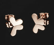 de luxe Cœur Boucles d'oreilles 316 acier inox 18 Carats Or Rose pl. bijoux