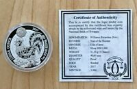 2017 PROOF Rwanda Lunar Rooster 1 oz Silver 999 Coin - Only 1k Minted* COA EBUX