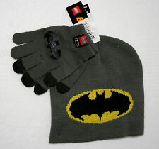 Batman From The Lego Movie DC Comics Gray Knit Cap Hat & Gloves Tags Childs OSFM