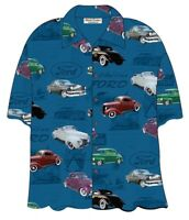 FORD CLASSIC 1940s CARS HAWAIIAN CAMP SHIRT - David Carey - BRAND NEW!