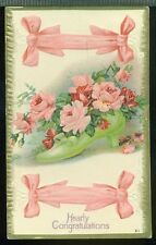 HEARTY CONGRATULATIONS Rose Filled Shoe Ribbon 1915 Red Cross Stamp Postcard
