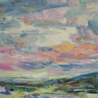 Art Original Painting by RM Mortensen Landscape Seascape Impressionism Sunset