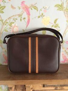 Authentic Vintage Brown Vinyl Messenger Bag with Stripe, Zip & Adjustable Strap