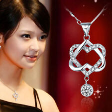 New Women Fashion 925 Sterling Silver Plated Double Heart Pendant Chain Necklace