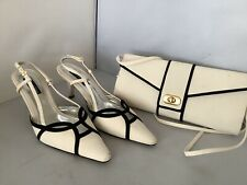 Jacques Vert Fabric Sling back Shoes Size 5/38 And Matching Clutch/ Shoulder Bag