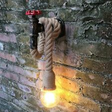 Vintage Wall Lamp Indoor Pipe Decor Lighting Sconce Shade-less Incandescent Bulb