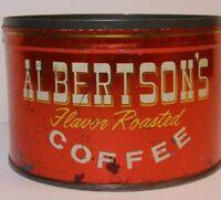Rare Vintage 1950s ALBERTSON'S COFFEE KEYWIND COFFEE TIN 1 ONE POUND BOISE IDAHO