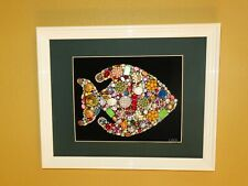 Vintage and Contemporary Jewelry Art Fish on black background and white frame