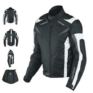 Ladies Textile Jacket sport Racing CE Armour Thermal Vents Motorcycle White M