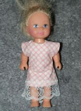 Handmade Pink Check patterned Lace. To Fit Barbie's liltle sister Shelly