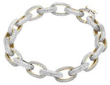 "Mens 10k Yellow Gold Genuine Diamond 11mm Interlocking Link Bracelet 6 2/5 Ct 8"""