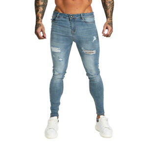 GINGTTO Men Skinny Jeans Ripped Faryed Stretch Slim Fit Casual Denim Trousers
