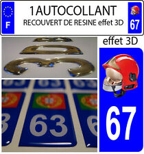 1 sticker plaque immatriculation auto DOMING 3D RESINE CASQUE F1 POMPIER DEPA 67