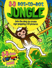 3D Eye-Popping Dot-to-Dot JUNGLE Activity Book w/3D Tiger Toucan Glasses Ages 3+