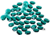 50pcs Dark Green Faceted Octagon Glass Beads Crystal Chandelier Decor Parts 14mm