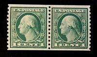 US Stamps, Scott #490 Coil Pair 1916 nicely centered M/NH XF/Superb rich color